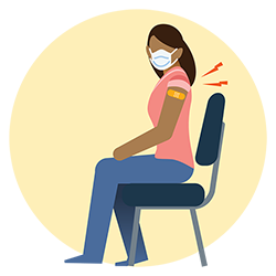 illustration of woman wearing mask, receiving vaccine