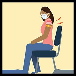 마스크를 쓰고 백신을 맞고 있는 여성의 그림