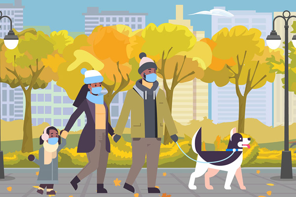 illustration of family walking dog
