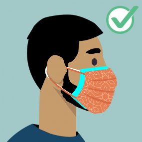 graphic of a bearded man wearing a disposable cloth
