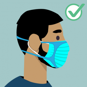 graphic of a bearded man wearing a disposable fitter