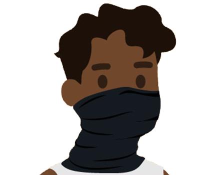 gráfico de un hombre usando un cubrecuellos