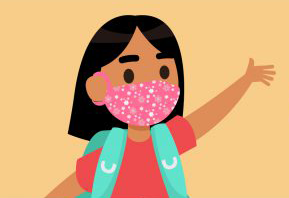 graphic of girl wearing a pink mask