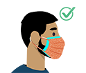 gráfico de un hombre con barba utilizando una mascarilla de tela desechable