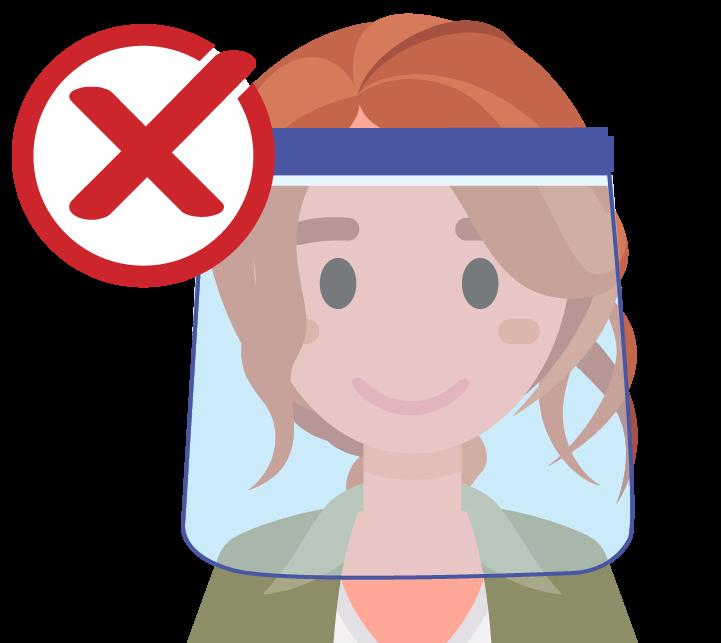 gráfico de una mujer con un protector facial