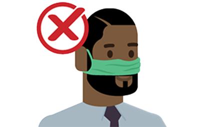 hombre con mascarilla sobre la cara pero sin la boca cubierta