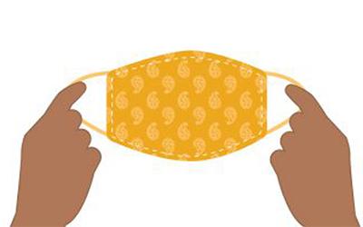 gráfico de manos sosteniendo una mascarilla anaranjada