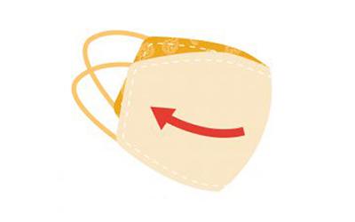 gráfico de la parte interna de una mascarilla anaranjada