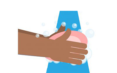 graphic of a person cleaning their hands