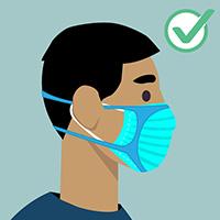파란색 마스크를 착용한 남성