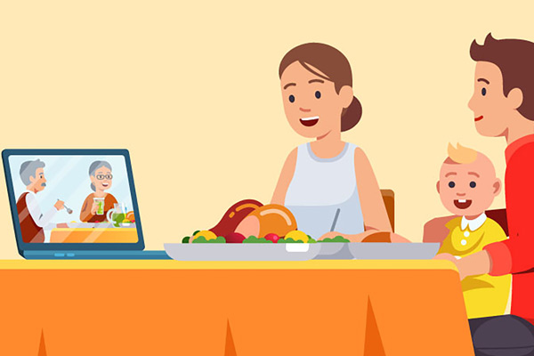 illustration of family at dinner using video chat