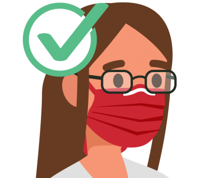 Girl with glasses and mask