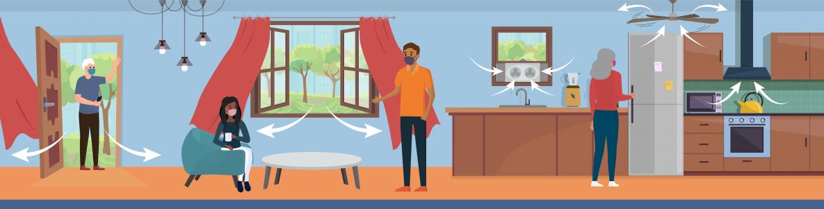 Hình ảnh đồ họa thể hiện nhiều phương pháp thông khí cho nhà quý vị, bao gồm đưa không khí ngoài trời vào trong nhà, lọc không khí và quạt hút mùi.