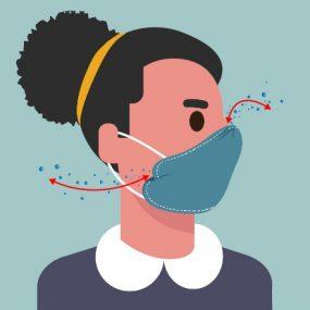 女性展示如何控制口罩贴合度的图表