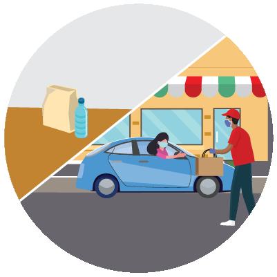 Recogida de alimentos desde el auto