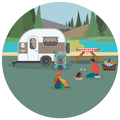 Family camping with trailer