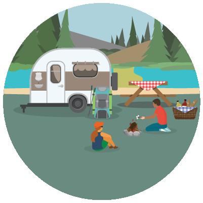 Familia acampando con remolque