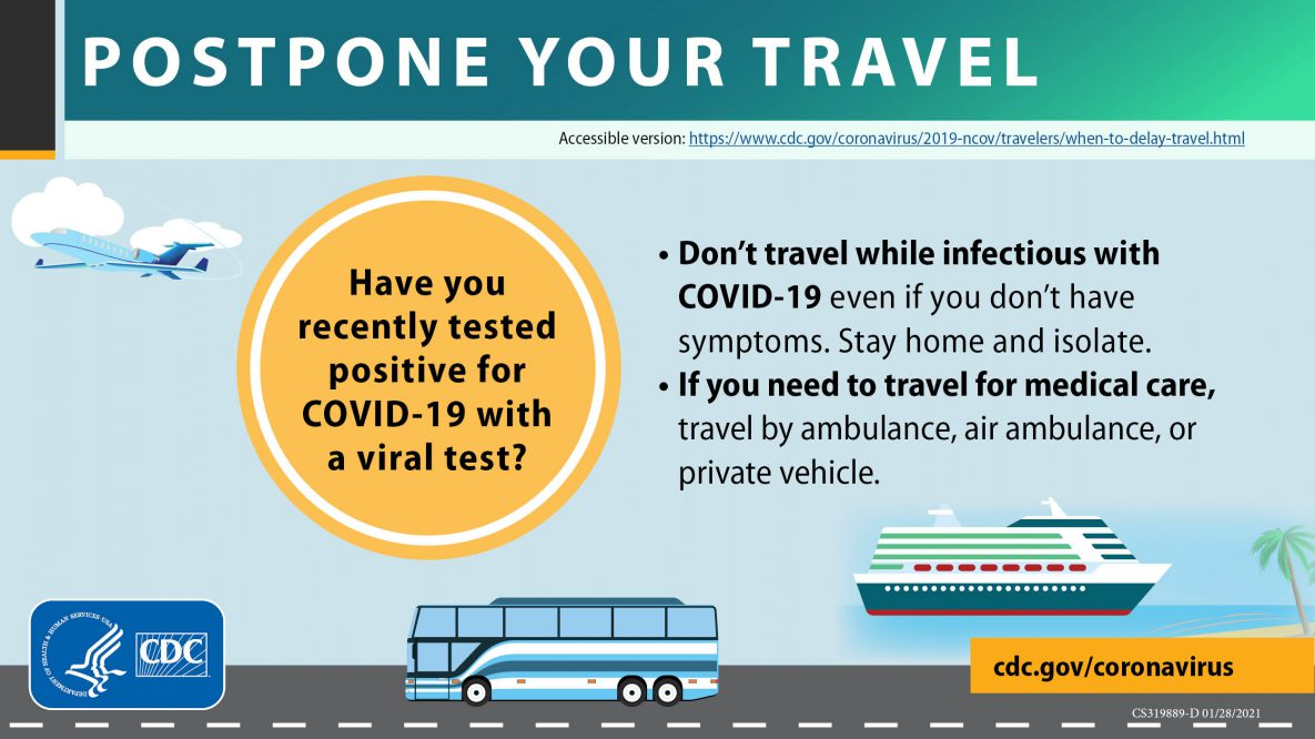 Postpone travel positive test results