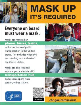 마스크 착용은 필수입니다 - 사진 섬네일이 있는 영어 포스터