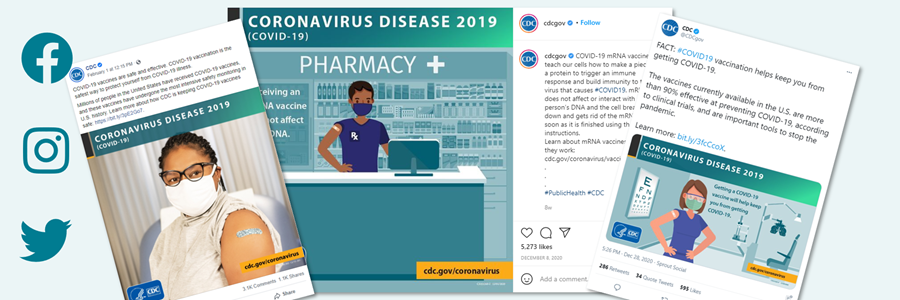 Thumbnails of Facebook, Instagram, and Twitter posts about the COVID-19 vaccine