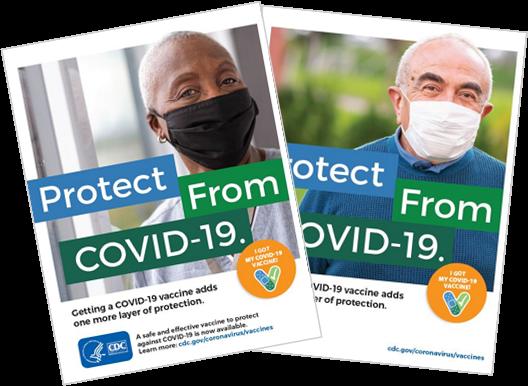 Afiches sobre las vacunas contra elCOVID-19