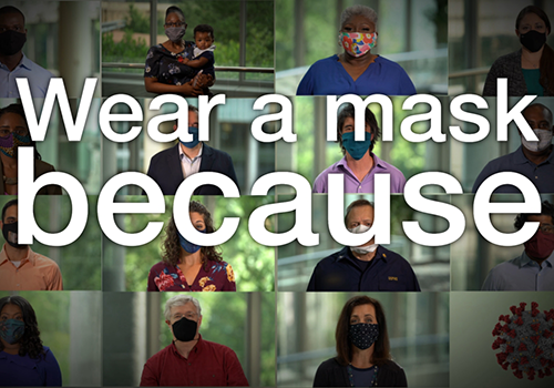 Picture tiles of people wearing a masks, with text: wear a mask because