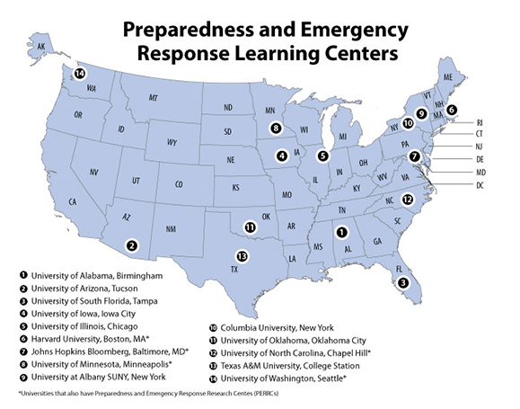 Map of Preparedness and Emergency Response Learning Centers