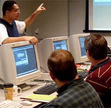 Photograph of people being trained