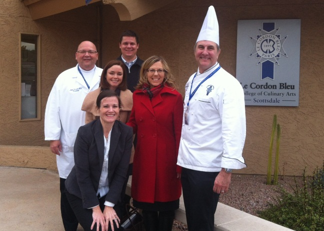 Victoria Harp & Cori Wigington from the CDC, Ethan Riley & Judy Kioski from Arizona Division of Emergency Management with Chef Lloyd Kirche & Chef Jon-Paul Hutchins from Le Cordon Bleu