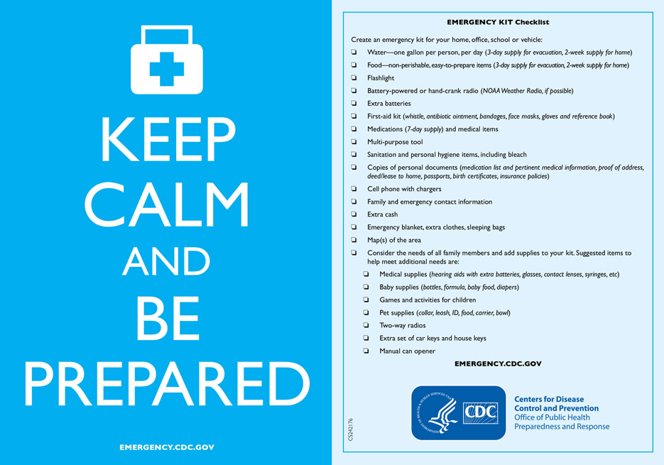 Infographic: Keep Calm and Be Prepared | CDC