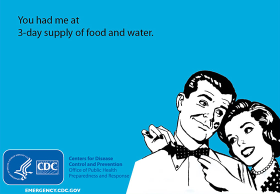You had me at 3-day supply of food and water.
