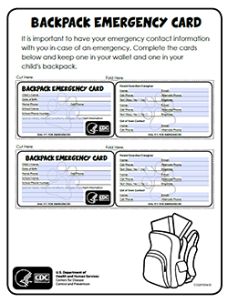 Backpack Emergency Card