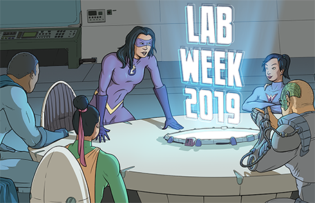 The League of Laboratory Superheroes gets ready to read profiles of real-life lab heroes.