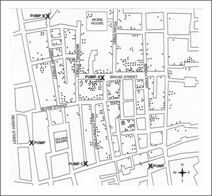 Street map marked with locations pumps and cholera cases.
