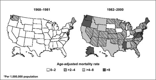 Two shaded maps show mortality rate for asbestosis over time.