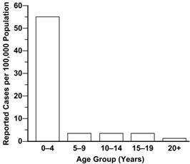 Bar chart shows pertussis cases in age groups of 4 year intervals.