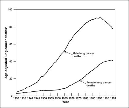 The line graph shows cancer death comparison between men and women.