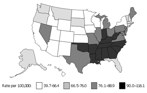 Shaded map of the U.S. Southeast states have higher cancer rates than midwestern states.