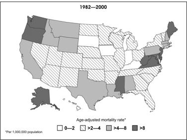 Map of the U.S. Shading of states indicates different mortality rates.