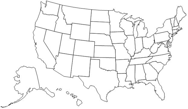 Map of U.S. to be used for creating an area map.