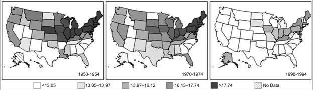 Area maps in chronological order show a decrease in mortality rates by location over time.