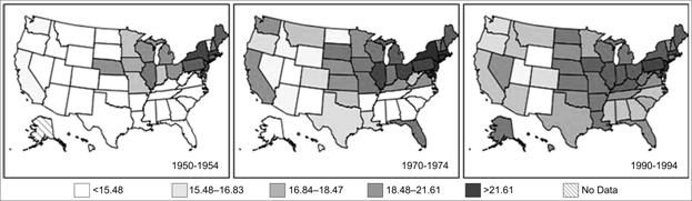 Area maps in chronological order show an increase in mortality rates by location over time.