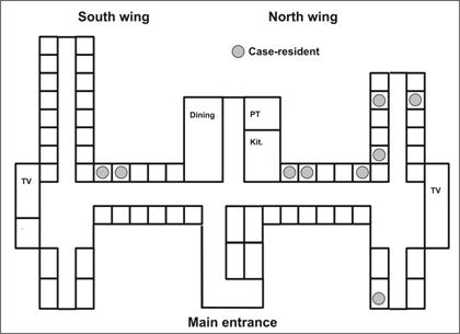 A floor plan of a building. Rooms of case patients are indicated by a dot.
