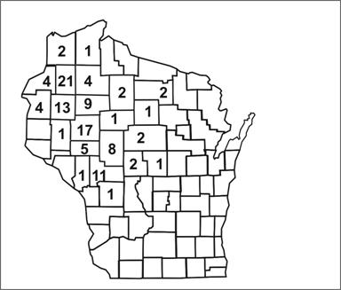 Map of Wisconsin counties. Numbers indicate cases within each county.