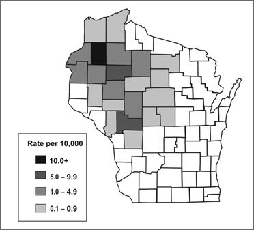 Map of Wisconsin counties. Shading indicates the number of cases within each county.