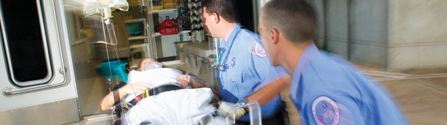 EMT's transporting patient