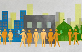 Graphic: Silhouettes of people and buildings