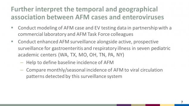 Further interpret the temporal and geographical association between AFM cases and enteroviruses
