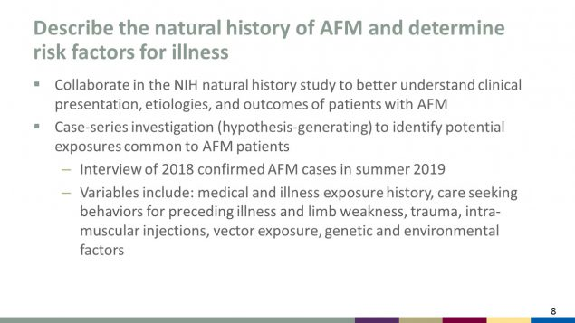 Describe the natural history of AFM and determine risk factors for illness