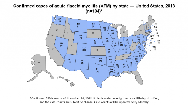 Map of US with confirmed cases of acute flaccid myelitis or AFM by state, 2018.